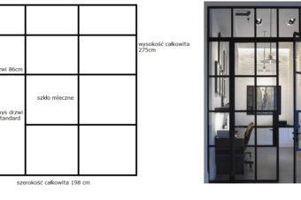 Szklana ściana na czarnych profilach z drzwiami