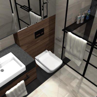 uchyt na ręcznik; ciekawa aranżacja małej łazienki;