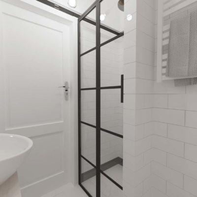biała łazienka; biała cegiałka; kafle w cegiełkę; czarna kabina; mała łazienka