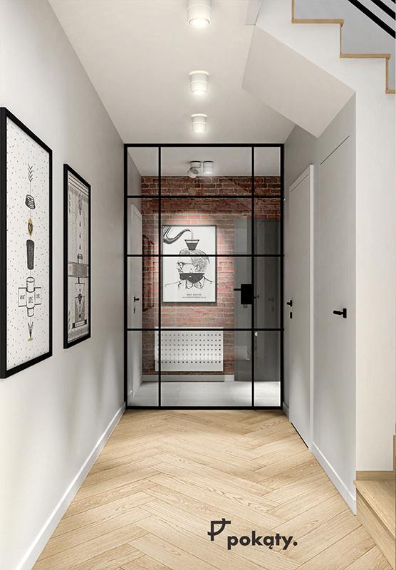 Drzwi szklane ze szprosem loftowe