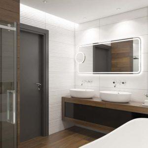 elektowne lustro; popielate drzwi w łazience; stylowe kafle w łazience; nowoczesna łazienka