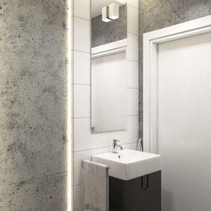 beton ozdobny w łazience; betonowa sciana w łazience; betonowa struktura; biała betonowa łazienka