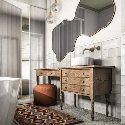 stylowa łazienka; drewniana komoda w łazience; złoty kran łazienka;