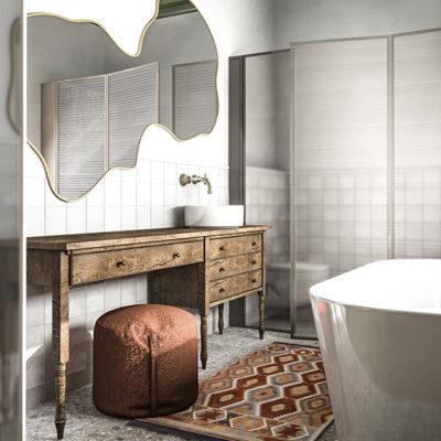 dywan w łazience; pufa łazienka; nietypowe lustro