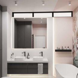 ciemne szafki pod umywalką; podświetlenie led łazienka