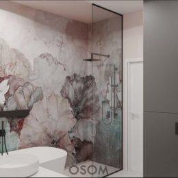 kwaity abstrakcja w łazeince; ścianka do sufitu w łazience; szklana ścianka w łazience