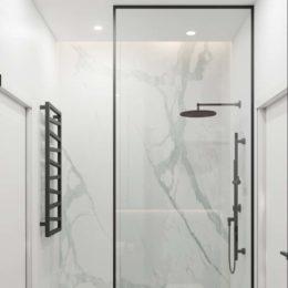czarny grzejnik; czarny prysznic; czarna ramka na szybie